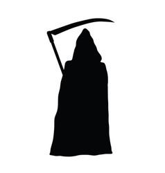 grim reaper holding scythe black silhouette vector image