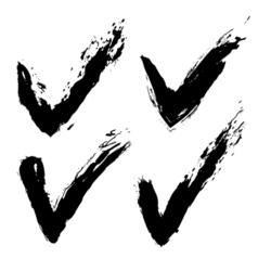 Grunge check marks vector image
