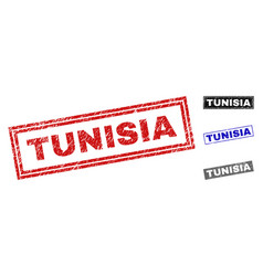 grunge tunisia textured rectangle stamp seals vector image