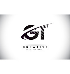 Gt g t letter logo design with swoosh and black vector