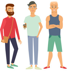 Guys in casual clothes vector