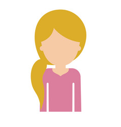 Half body faceless woman with pigtail hairstyle in vector