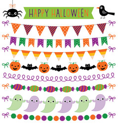 Halloween party bunting decoration isolated vector