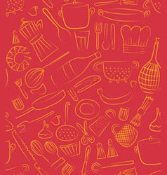 hand drawn kitchen elements set for menu vector image