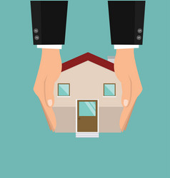 hands holding with house vector image