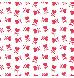heart and crossbones seamless pattern vector image