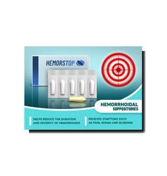 Hemorrhoids suppositories promo banner vector