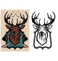 Heraldic animals deer color and monochrome vector