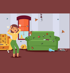Insect in apartment pest control character vector