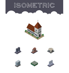 Isometric architecture set of warehouse chapel vector