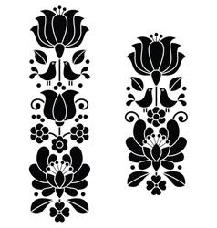 Kalocsai black embroideryHungarian floral pattern vector