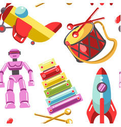 Kid toys icons seamless pattern children vector