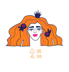 Leo zodiac sign with beautiful girl vector