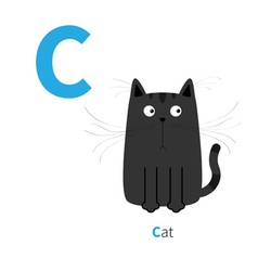 Letter C Cat black English abc with animals Zoo vector image