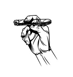 Male hand holding burning cuban cigar vector