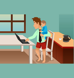 man carrying his child while working from home vector image