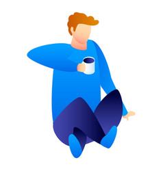 man drink coffee icon isometric style vector image