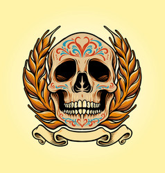 mexico skull muertos with banner vector image
