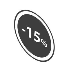 Minus 15 percent sale black emblem icon isometric vector