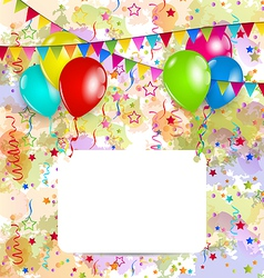Modern birthday greeting card with balloons and vector image