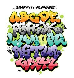 Multicolored comic style graffiti alphabet vector
