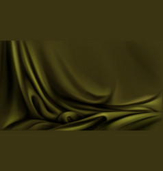 olive green silk cloth folded fabric realistic vector image