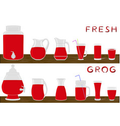 On theme big kit different types glassware vector