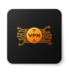 Orange glowing vpn in circle with microchip vector