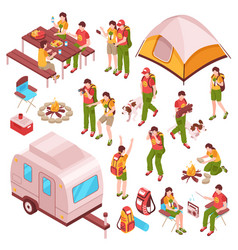 Picnic barbecue isometric icons vector