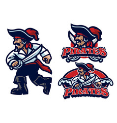 pirate mascot set vector image