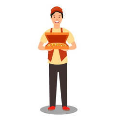pizza courier holding order vector image