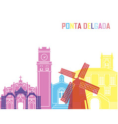 Ponta delgada skyline pop vector