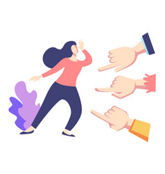Public disapproval woman and fingers pointing vector