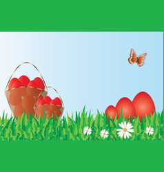 red easter eggs in the nature vector image