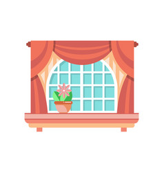 retro wooden window frame with curtains vector image