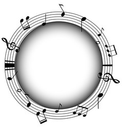 Round frame with musicnotes and gray background vector