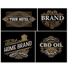 Set 4 vintage logos with baroque ornaments vector