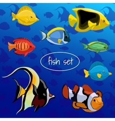 Set of colored different fish on a blue background vector