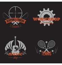 Set of retro labels grey vintage design vector image