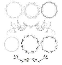 Set of round flourish vintage decorative whorls vector