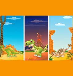 Set of three dinosaurs with prehistoric background vector
