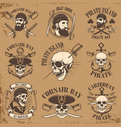 set pirate emblems on grunge background vector image