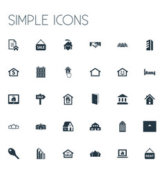 Set simple property icons elements promotion vector