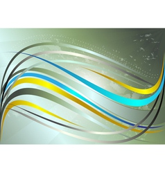 Shiny yellow and blue wavy stripes vector image