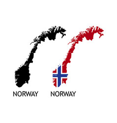 Silhouette norway on white color vector