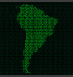 Silhouette of south america from binary digits on vector