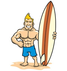 Smiling muscle surfer posing with surfboard vector