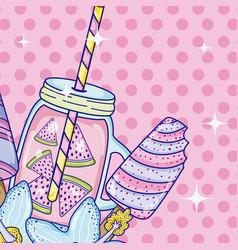 Summer time juice cartoon vector