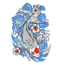 Tattoo design koi fish in vintage style vector
