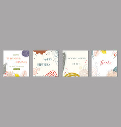 Trendy abstract square art templates with floral vector